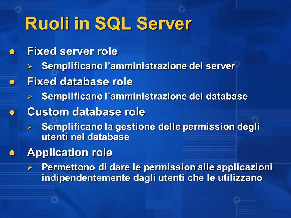 Ruoli in SQL Server Fixed server role Fixed server role Semplificano lamministrazione del server Semplificano lamministrazione del server Fixed databa