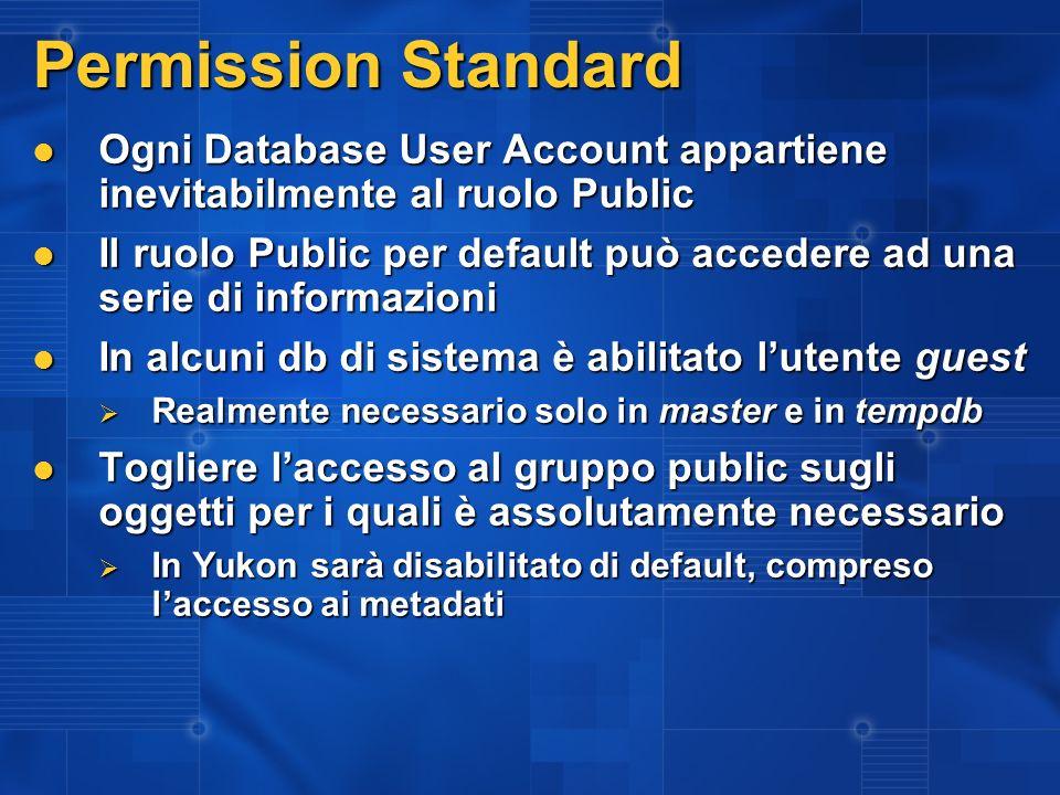 Permission Standard Ogni Database User Account appartiene inevitabilmente al ruolo Public Ogni Database User Account appartiene inevitabilmente al ruo