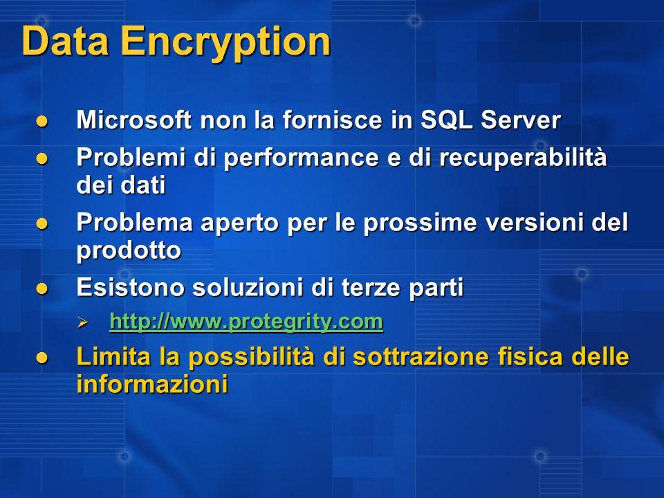 Data Encryption Microsoft non la fornisce in SQL Server Microsoft non la fornisce in SQL Server Problemi di performance e di recuperabilità dei dati P