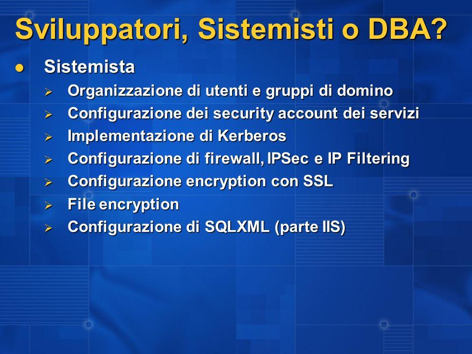 Sviluppatori, Sistemisti o DBA? Sistemista Sistemista Organizzazione di utenti e gruppi di domino Organizzazione di utenti e gruppi di domino Configur