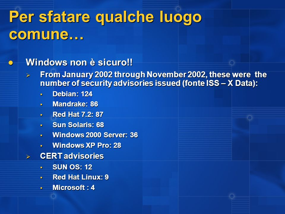 Per sfatare qualche luogo comune… Windows non è sicuro!! Windows non è sicuro!! From January 2002 through November 2002, these were the number of secu