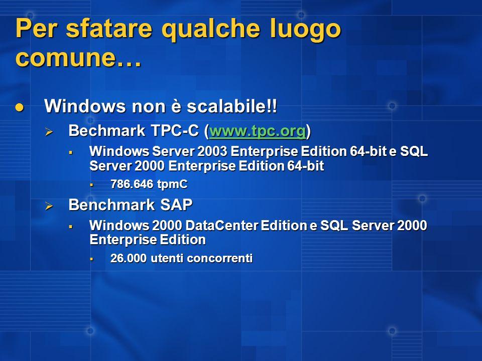 Per sfatare qualche luogo comune… Windows non è scalabile!! Windows non è scalabile!! Bechmark TPC-C (www.tpc.org) Bechmark TPC-C (www.tpc.org)www.tpc
