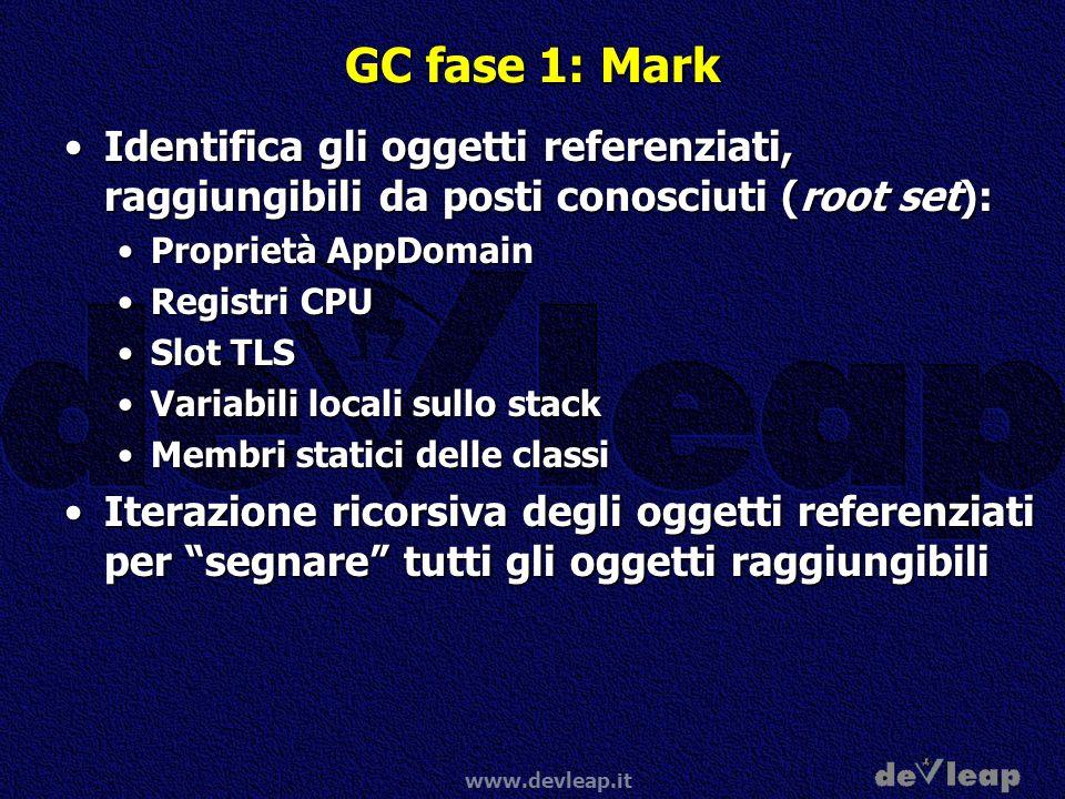www.devleap.it GC fase 1: Mark Identifica gli oggetti referenziati, raggiungibili da posti conosciuti (root set):Identifica gli oggetti referenziati,