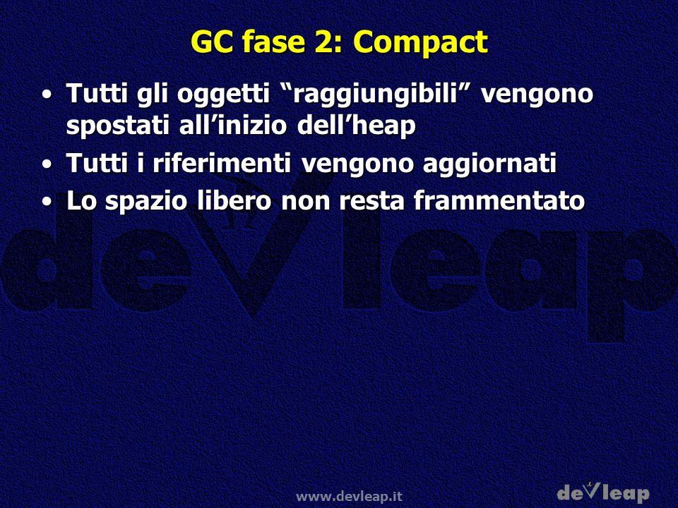 www.devleap.it GC fase 2: Compact Tutti gli oggetti raggiungibili vengono spostati allinizio dellheapTutti gli oggetti raggiungibili vengono spostati