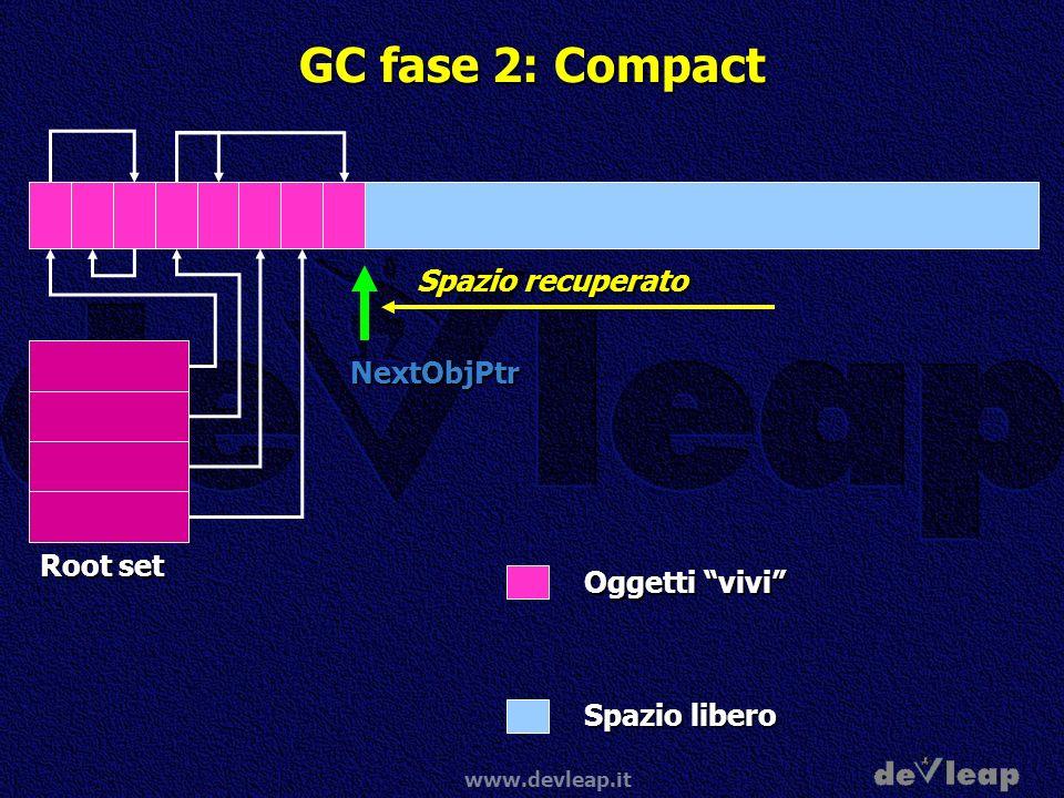 www.devleap.it GC fase 2: Compact NextObjPtr Oggetti vivi Spazio libero Root set Spazio recuperato