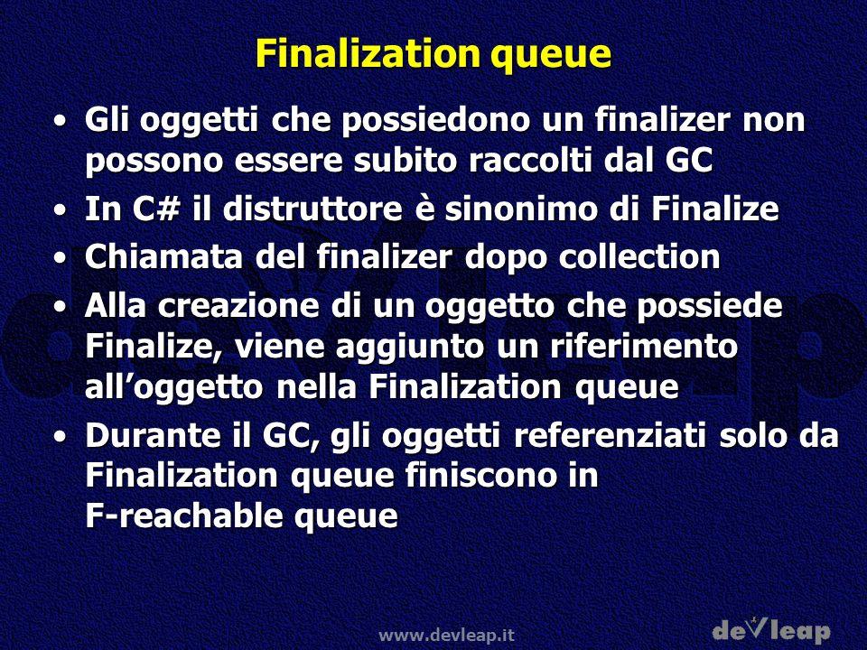 www.devleap.it Finalization queue Gli oggetti che possiedono un finalizer non possono essere subito raccolti dal GCGli oggetti che possiedono un final