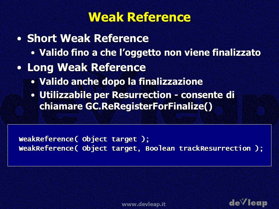 www.devleap.it Weak Reference Short Weak ReferenceShort Weak Reference Valido fino a che loggetto non viene finalizzatoValido fino a che loggetto non