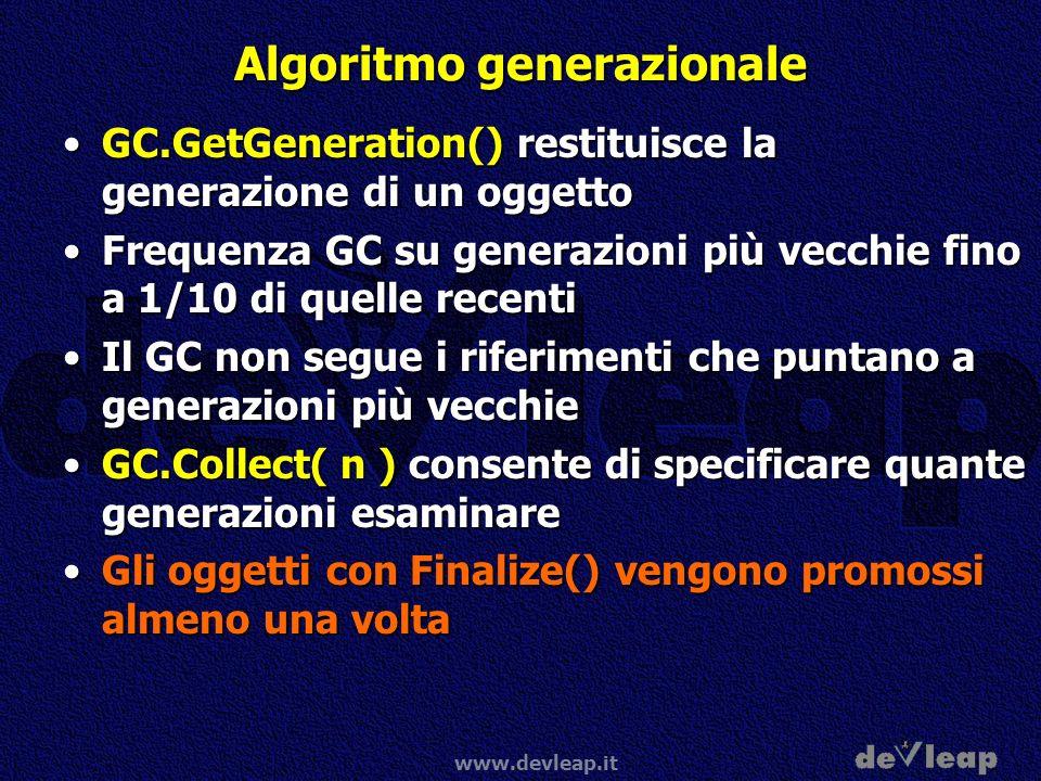 www.devleap.it Algoritmo generazionale GC.GetGeneration() restituisce la generazione di un oggettoGC.GetGeneration() restituisce la generazione di un