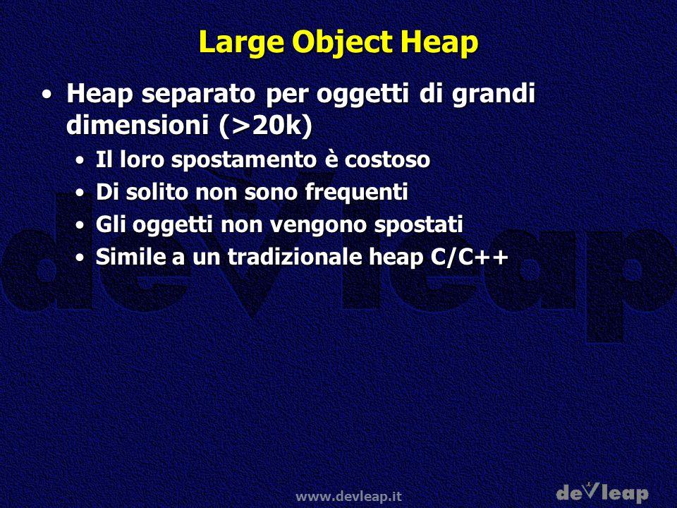 www.devleap.it Large Object Heap Heap separato per oggetti di grandi dimensioni (>20k)Heap separato per oggetti di grandi dimensioni (>20k) Il loro sp