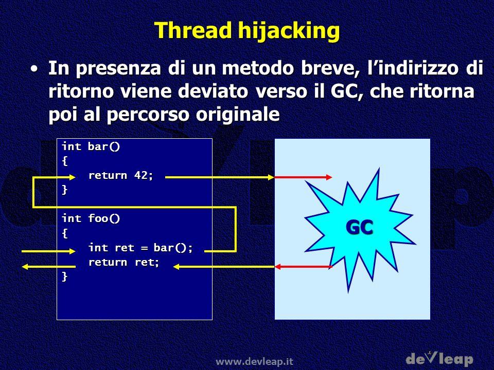 www.devleap.it Thread hijacking In presenza di un metodo breve, lindirizzo di ritorno viene deviato verso il GC, che ritorna poi al percorso originale