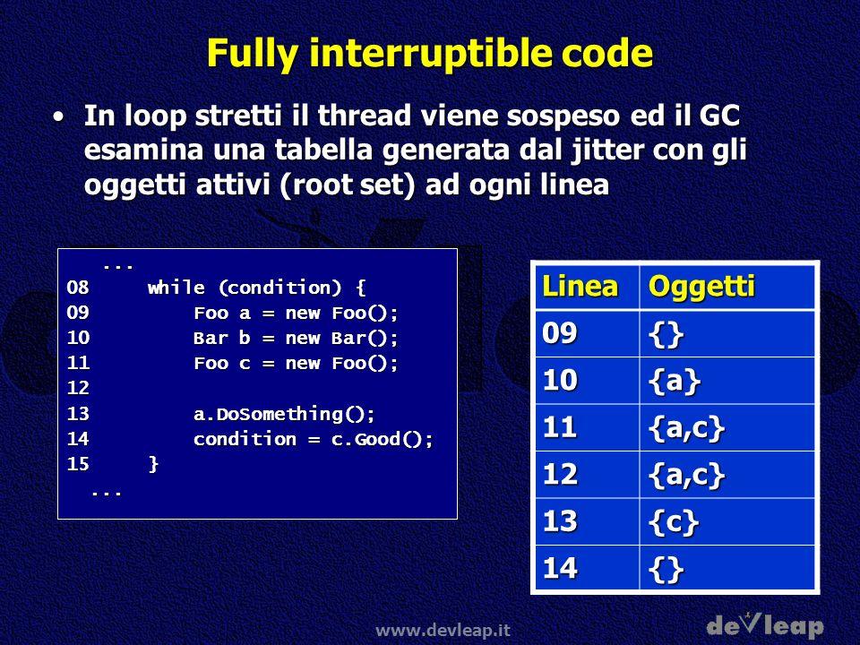 www.devleap.it Fully interruptible code In loop stretti il thread viene sospeso ed il GC esamina una tabella generata dal jitter con gli oggetti attiv