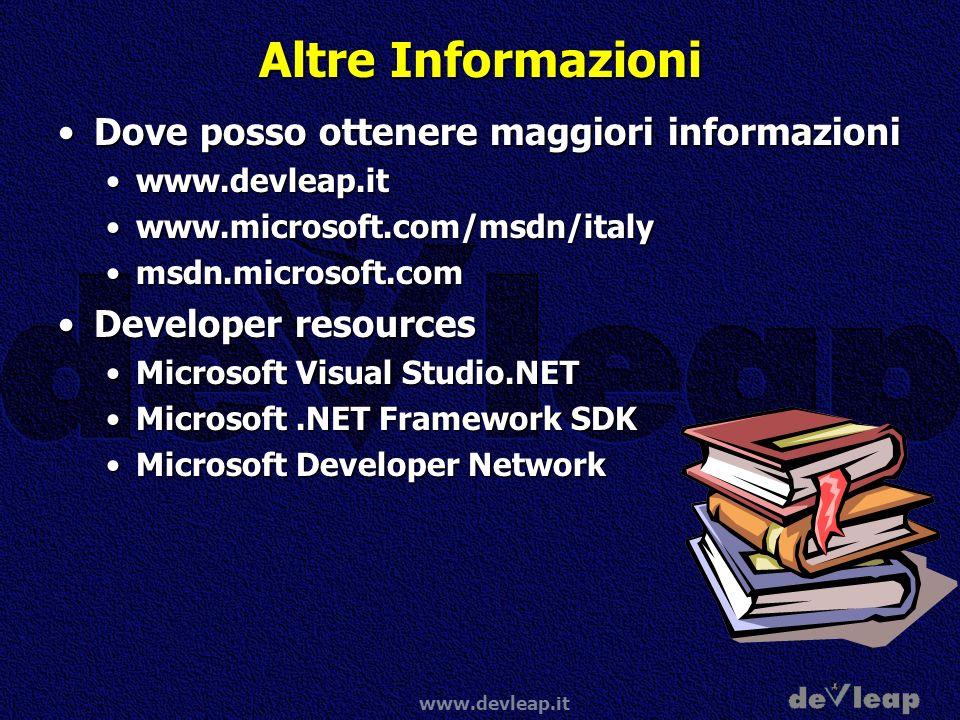 www.devleap.it Altre Informazioni Dove posso ottenere maggiori informazioniDove posso ottenere maggiori informazioni www.devleap.itwww.devleap.it www.
