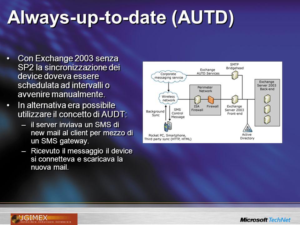 Always-up-to-date (AUTD) Con Exchange 2003 senza SP2 la sincronizzazione dei device doveva essere schedulata ad intervalli o avvenire manualmente. In