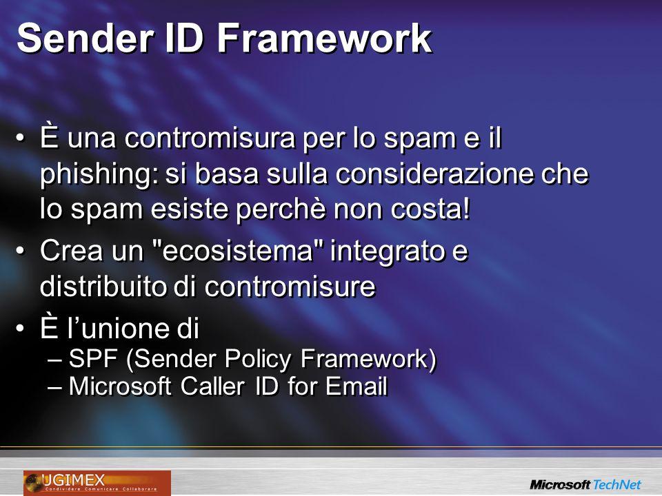 Sender ID Framework È una contromisura per lo spam e il phishing: si basa sulla considerazione che lo spam esiste perchè non costa! Crea un