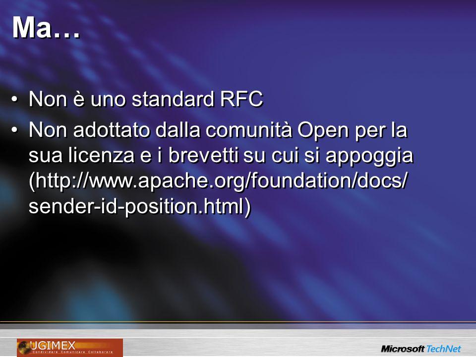 Ma… Non è uno standard RFC Non adottato dalla comunità Open per la sua licenza e i brevetti su cui si appoggia (http://www.apache.org/foundation/docs/