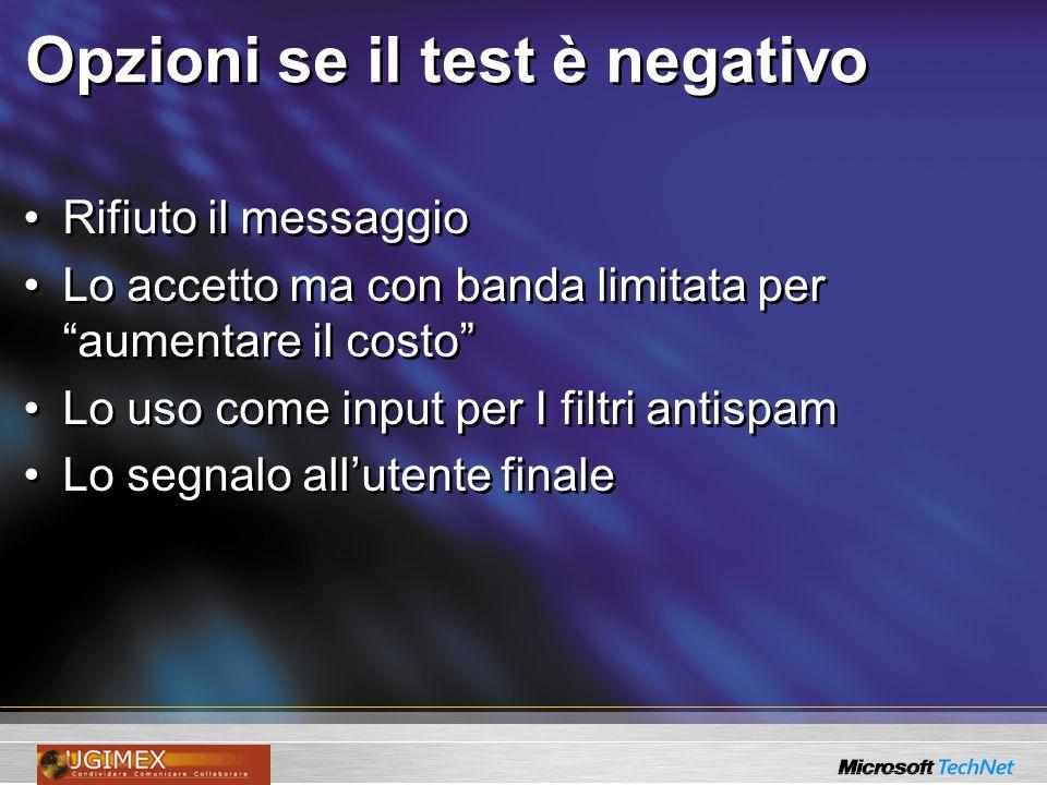 Opzioni se il test è negativo Rifiuto il messaggio Lo accetto ma con banda limitata per aumentare il costo Lo uso come input per I filtri antispam Lo