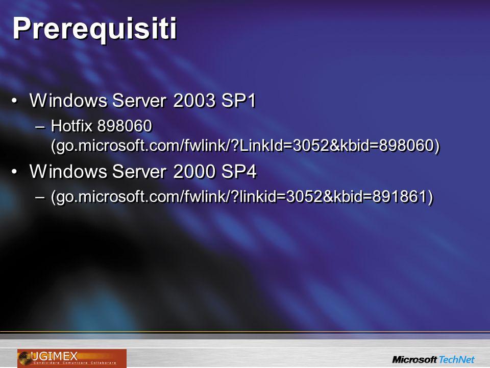Prerequisiti Windows Server 2003 SP1 –Hotfix 898060 (go.microsoft.com/fwlink/?LinkId=3052&kbid=898060) Windows Server 2000 SP4 –(go.microsoft.com/fwli