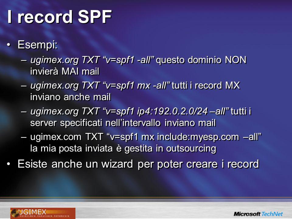 I record SPF Esempi: –ugimex.org TXT v=spf1 -all questo dominio NON invierà MAI mail –ugimex.org TXT v=spf1 mx -all tutti i record MX inviano anche ma