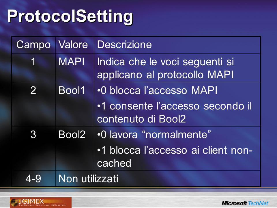 ProtocolSetting CampoValoreDescrizione 1MAPIIndica che le voci seguenti si applicano al protocollo MAPI 2Bool10 blocca laccesso MAPI 1 consente lacces