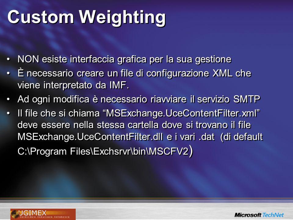 Custom Weighting NON esiste interfaccia grafica per la sua gestione È necessario creare un file di configurazione XML che viene interpretato da IMF. A
