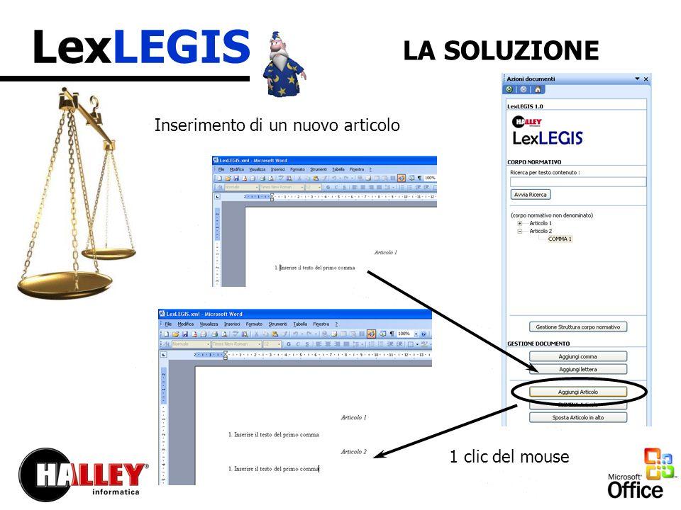LexLEGIS LA SOLUZIONE Inserimento di un nuovo articolo 1 clic del mouse