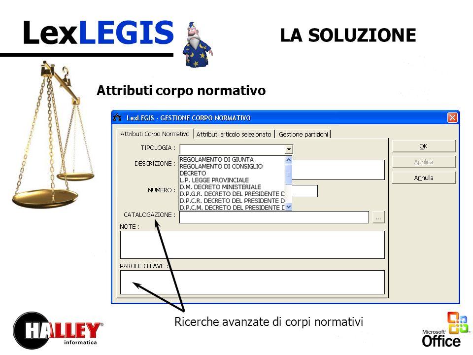 LexLEGIS LA SOLUZIONE Attributi corpo normativo Ricerche avanzate di corpi normativi