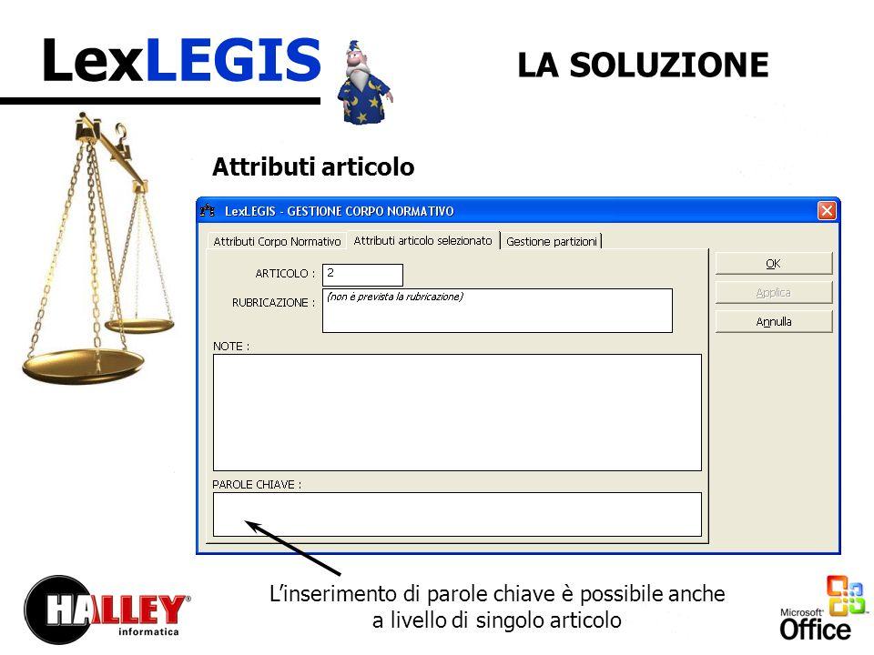 LexLEGIS LA SOLUZIONE Attributi articolo Linserimento di parole chiave è possibile anche a livello di singolo articolo