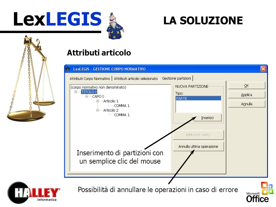 LexLEGIS LA SOLUZIONE Attributi articolo Inserimento di partizioni con un semplice clic del mouse Possibilità di annullare le operazioni in caso di errore