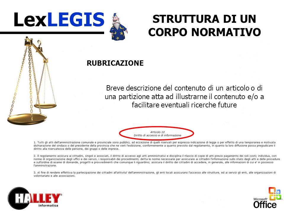 LexLEGIS LA SOLUZIONE Titolario standard per la catalogazione Classificazioni