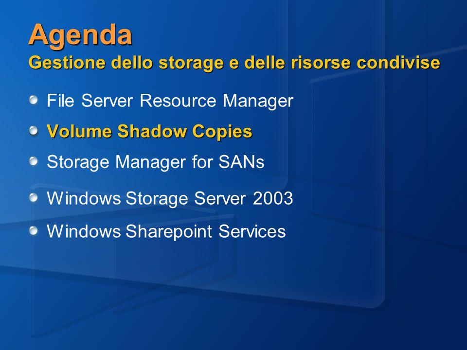 Agenda Gestione dello storage e delle risorse condivise File Server Resource Manager Volume Shadow Copies Storage Manager for SANs Windows Storage Server 2003 Windows Sharepoint Services