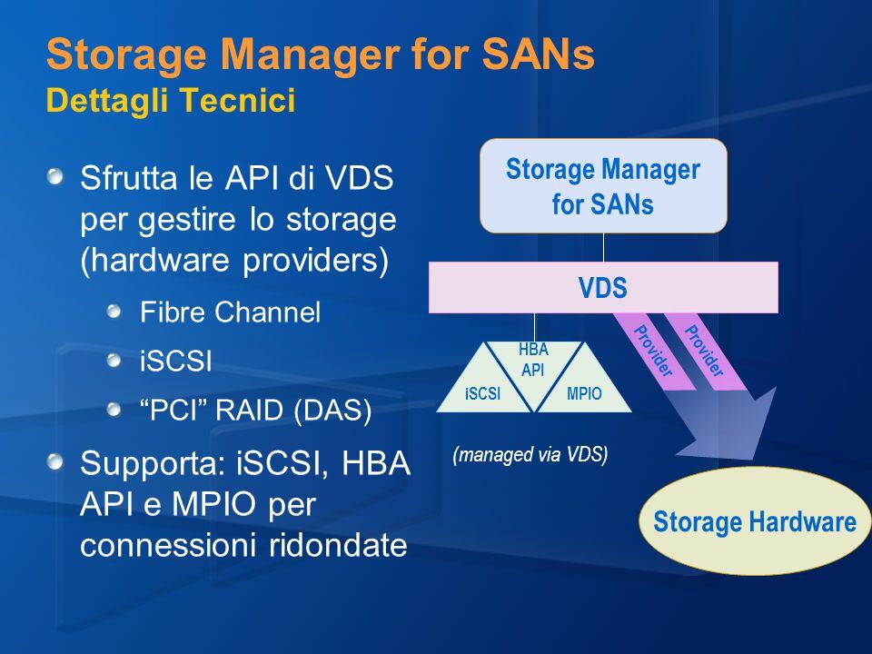 Storage Manager for SANs Dettagli Tecnici Sfrutta le API di VDS per gestire lo storage (hardware providers) Fibre Channel iSCSI PCI RAID (DAS) Supporta: iSCSI, HBA API e MPIO per connessioni ridondate Storage Manager for SANs VDS iSCSIMPIO HBA API Provider Storage Hardware (managed via VDS)