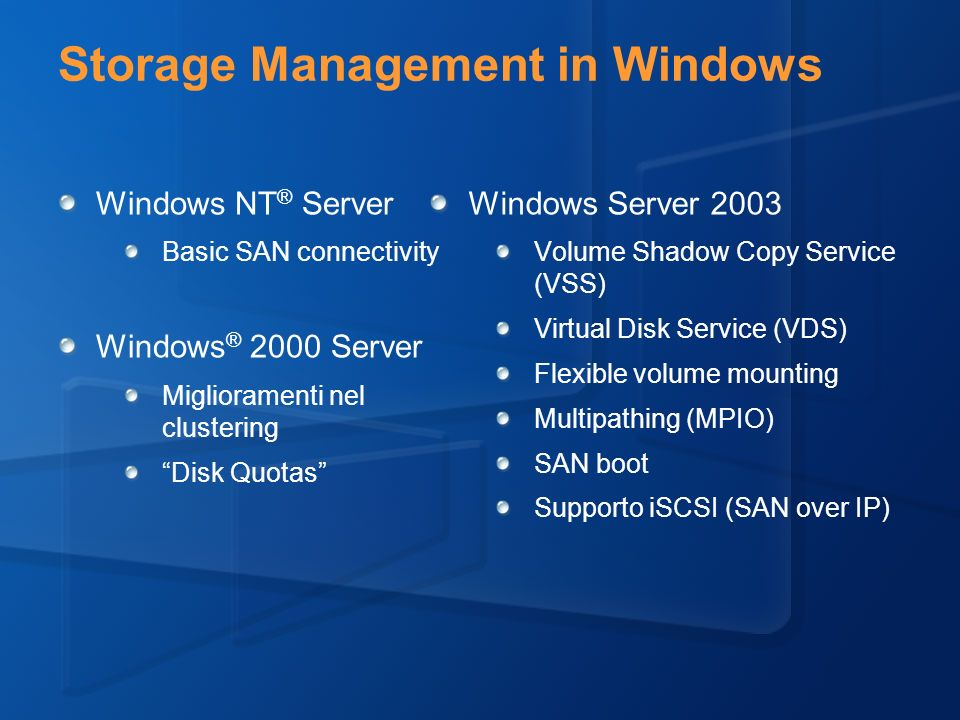 Storage Management in Windows Windows NT ® Server Basic SAN connectivity Windows ® 2000 Server Miglioramenti nel clustering Disk Quotas Windows Server 2003 Volume Shadow Copy Service (VSS) Virtual Disk Service (VDS) Flexible volume mounting Multipathing (MPIO) SAN boot Supporto iSCSI (SAN over IP)