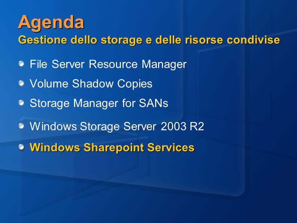 Agenda Gestione dello storage e delle risorse condivise File Server Resource Manager Volume Shadow Copies Storage Manager for SANs Windows Storage Server 2003 R2 Windows Sharepoint Services