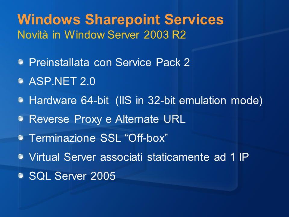 Windows Sharepoint Services Novità in Window Server 2003 R2 Preinstallata con Service Pack 2 ASP.NET 2.0 Hardware 64-bit (IIS in 32-bit emulation mode) Reverse Proxy e Alternate URL Terminazione SSL Off-box Virtual Server associati staticamente ad 1 IP SQL Server 2005