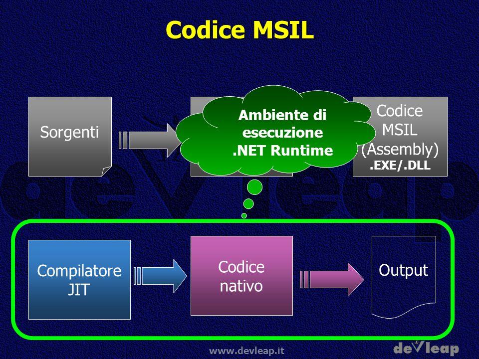 www.devleap.it Codice MSIL Codice nativo Output Compilatore JIT Codice MSIL (Assembly).EXE/.DLL Compilatore.NET Sorgenti Ambiente di esecuzione.NET Ru