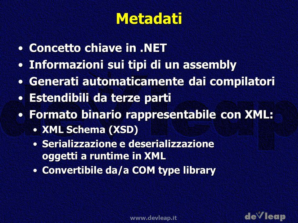 www.devleap.it Metadati Concetto chiave in.NETConcetto chiave in.NET Informazioni sui tipi di un assemblyInformazioni sui tipi di un assembly Generati
