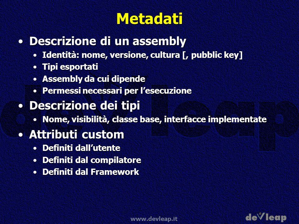 www.devleap.it Metadati Descrizione di un assemblyDescrizione di un assembly Identità: nome, versione, cultura [, pubblic key]Identità: nome, versione