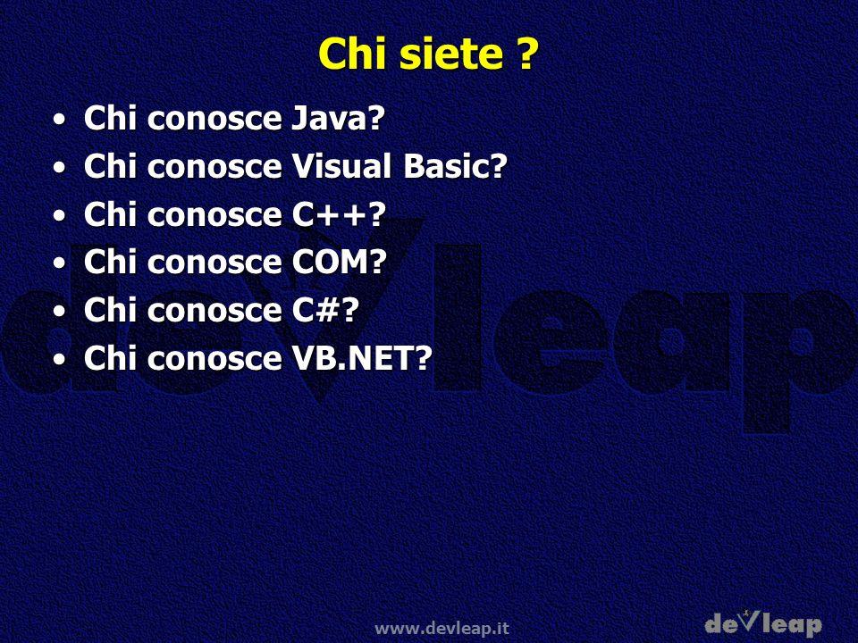 www.devleap.it Chi siete ? Chi conosce Java?Chi conosce Java? Chi conosce Visual Basic?Chi conosce Visual Basic? Chi conosce C++?Chi conosce C++? Chi