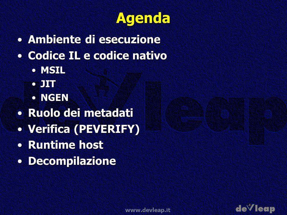 www.devleap.it Agenda Ambiente di esecuzioneAmbiente di esecuzione Codice IL e codice nativoCodice IL e codice nativo MSILMSIL JITJIT NGENNGEN Ruolo d
