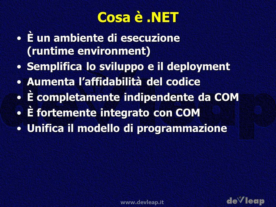 www.devleap.it Cosa è.NET È un ambiente di esecuzione (runtime environment)È un ambiente di esecuzione (runtime environment) Semplifica lo sviluppo e