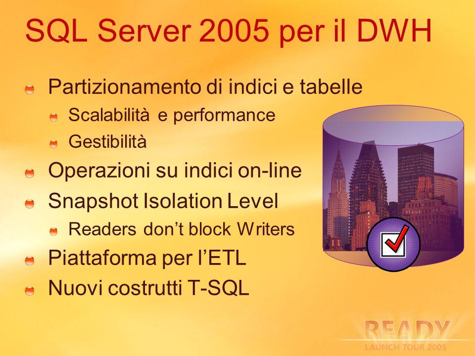 SQL Server 2005 per il DWH Partizionamento di indici e tabelle Scalabilità e performance Gestibilità Operazioni su indici on-line Snapshot Isolation L