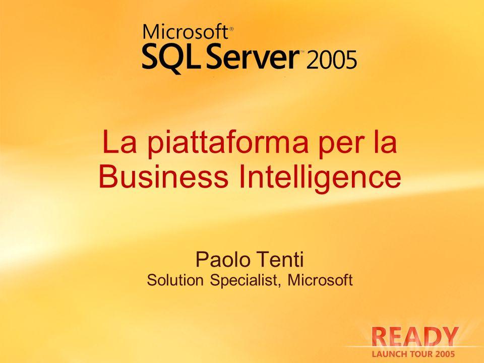 SQL Server 2005 per il DWH Partizionamento di indici e tabelle Scalabilità e performance Gestibilità Operazioni su indici on-line Snapshot Isolation Level Readers dont block Writers Piattaforma per lETL Nuovi costrutti T-SQL