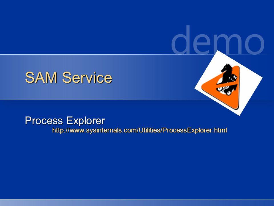 SAM Service Process Explorer http://www.sysinternals.com/Utilities/ProcessExplorer.html