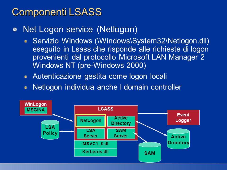 Componenti security Processo Logon (Winlogon) Processo \Windows\System32\Winlogon.exe responsabile per logon interattivo e risposta a SAS (CTRL-ALT-CANC) Graphical Identification and Authentication (GINA) DLL eseguita in Winlogon usata per richiedere nome utente e password o PIN smartcard Default: \Windows\System32\Msgina.dll Registry: HKLM\Software\Microsoft\Windows NT\CurrentVersion\WinLogon\GinaDLL WinLogon MSGINA LSASS NetLogon Active Directory LSA Server SAM Server MSVC1_0.dl Kerberos.dll LSA Policy Event Logger Active Directory SAM