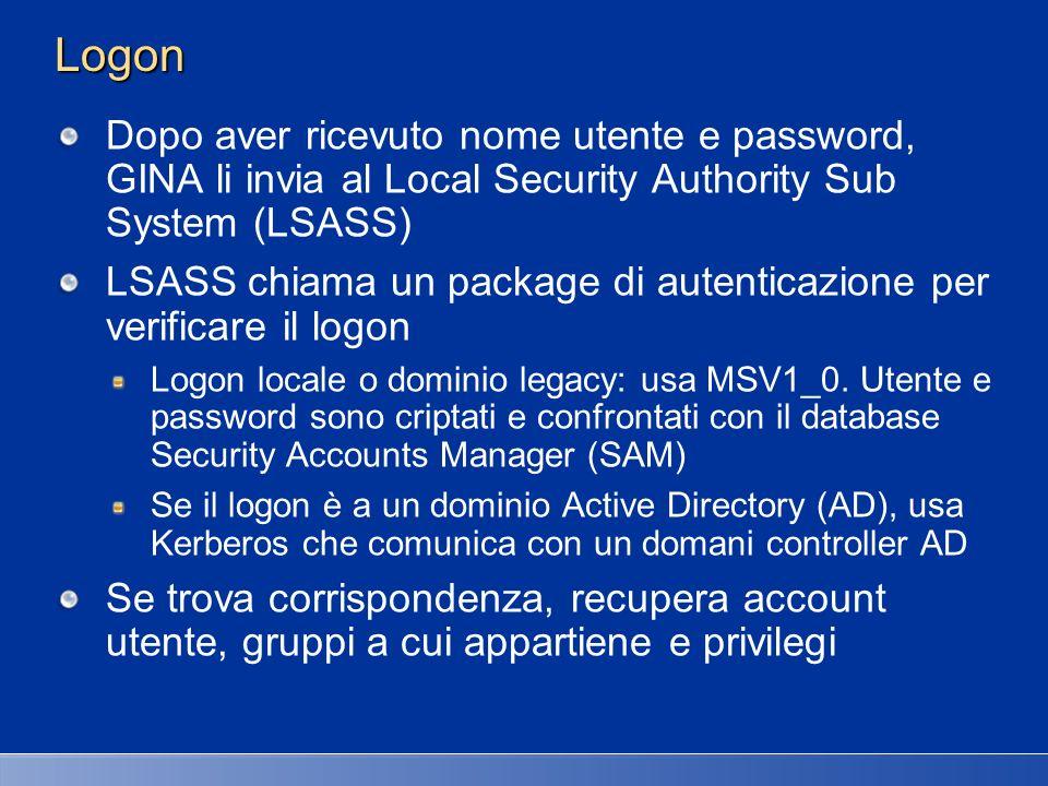 Logon Dopo aver ricevuto nome utente e password, GINA li invia al Local Security Authority Sub System (LSASS) LSASS chiama un package di autenticazion