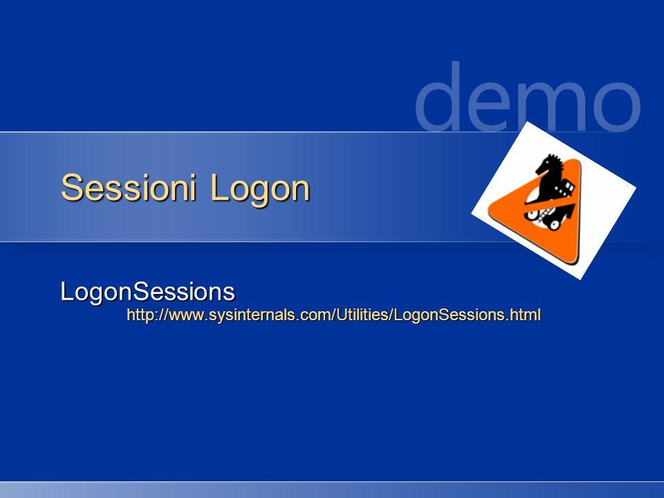 Sessioni Logon LogonSessionshttp://www.sysinternals.com/Utilities/LogonSessions.html