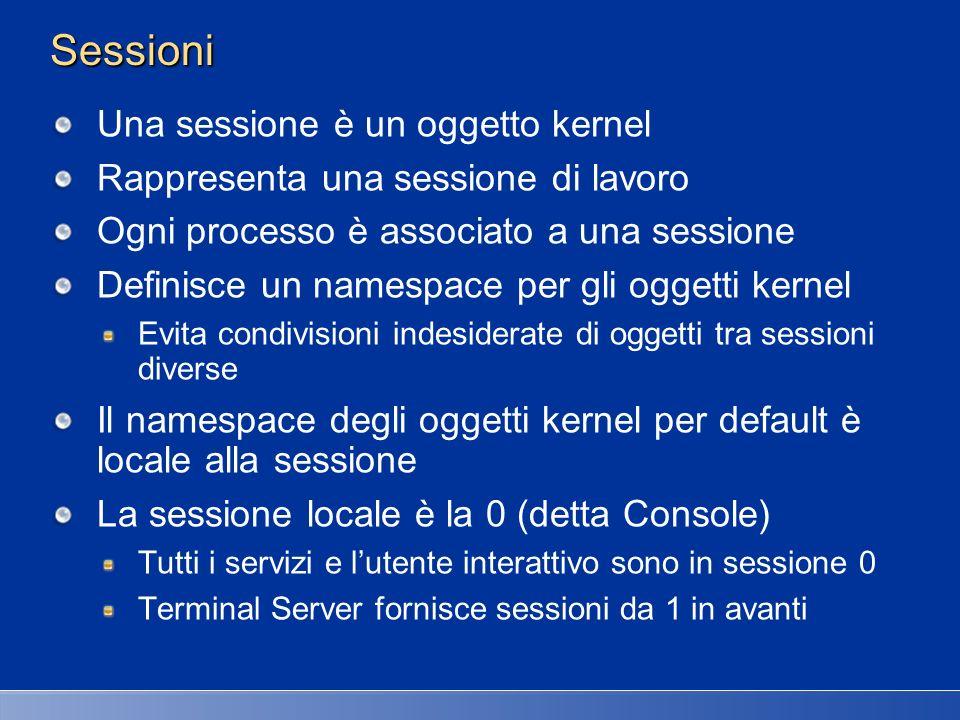 Sessioni Una sessione è un oggetto kernel Rappresenta una sessione di lavoro Ogni processo è associato a una sessione Definisce un namespace per gli o