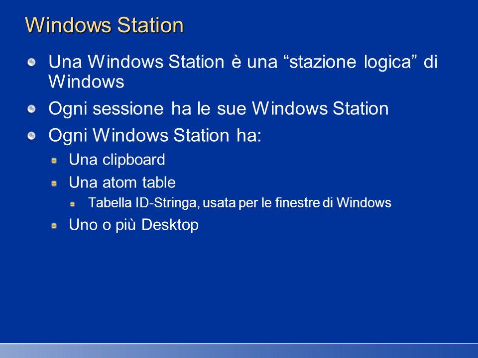 Windows Station La sessione 0 ha più Windows Station WinSta0 – usata per tutti i processi interattivi Service-0x0-3e7$ - servizi non interattivi [LogonSession] – servizi eseguiti con user account Una per ogni utente diverso associato ai servizi I servizi interattivi sono associati a WinSta0 Altrimenti non visualizzano interfaccia utente Eccezione: dialog box conflag MB_SERVICE_NOTIFICATIOn e MB_DEFAULT_DESKTOP_ONLY