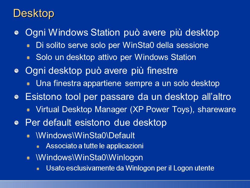 Sessioni, Windows Station e Desktop Legame tra Sessioni, Windows Station e Desktop Le Windows Station di sessioni non interattive hanno un desktop in più Disconnect Desktop, in pratica è un desktop vuoto Usato quando utente remoto si sconnette lasciando sessione aperta Riduce trasferimento di dati sulla rete