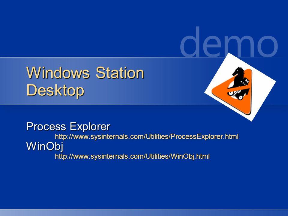 Windows Station Desktop Process Explorer http://www.sysinternals.com/Utilities/ProcessExplorer.htmlWinObjhttp://www.sysinternals.com/Utilities/WinObj.